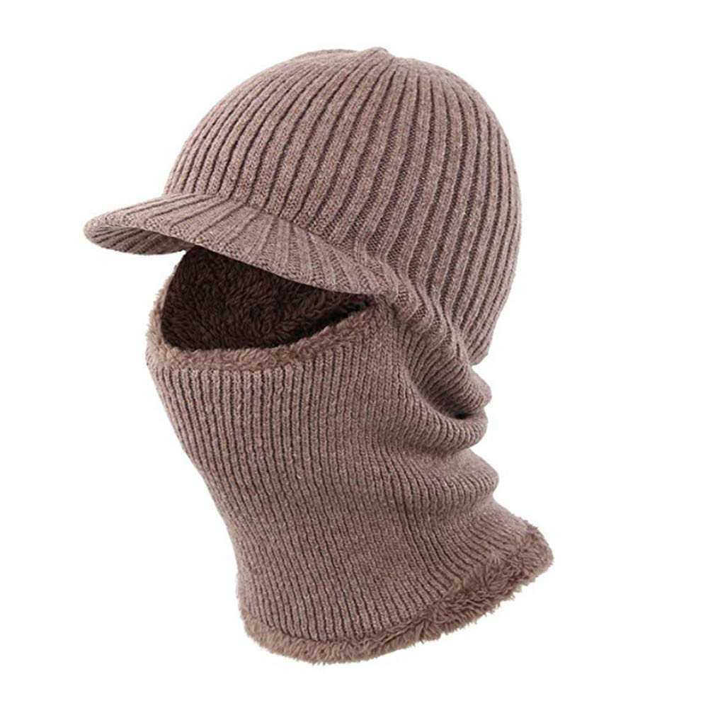 Winter Cap Beanie Hat Men Women Full Face Balaclava Mask Fleece Lined Neck Warmer Scarf Set Knitted Snow Ski Windproof Motorcycle Black PAMRAY