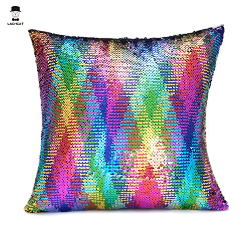 LAGHCAT Reversible Cushion Covers Sequins Mermaid Pillow Cases with magic mermaid sequin (Colorful and silver,ONLY Pillow Case)