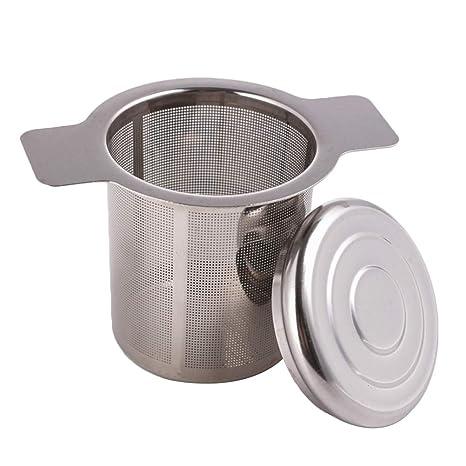 BESTONZON Filtro para Té y Café con Malla de Acero Inoxidable Tamaño Mediano con Tapa para Pote del Té del Café