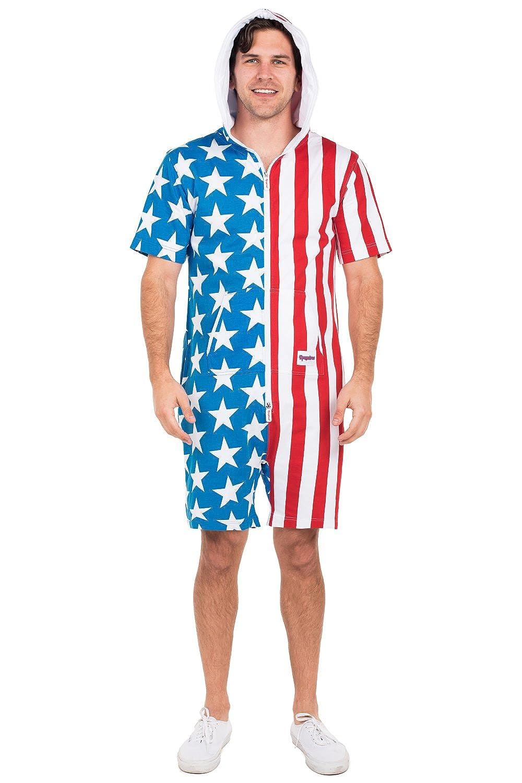 b39415aee217 Amazon.com  Tipsy Elves USA Short Sleeve Jumpsuit  Large Blue  Clothing
