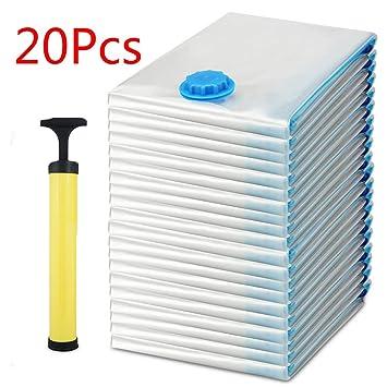 Coocheer 20 unidades Bolsas al vacío para ropa con bomba ahorro de espacio 3 tamaños 60 x 40, 80 x 60,120 x 80 cm