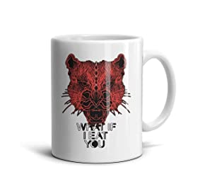 KDIHADGH Red Tiger What if eat You White Mom Cup Inspirational Coffee Mug