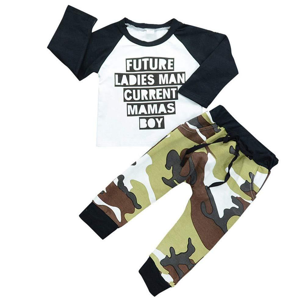 YanHoo Conjunto de Ropa para niños Juego de 2 Piezas de Manga Larga para niños Camo Carta Toddler Kids Baby Boy Clothes Letter T-Shirt Tops + Conjunto de Trajes de Camuflaje Pantalones