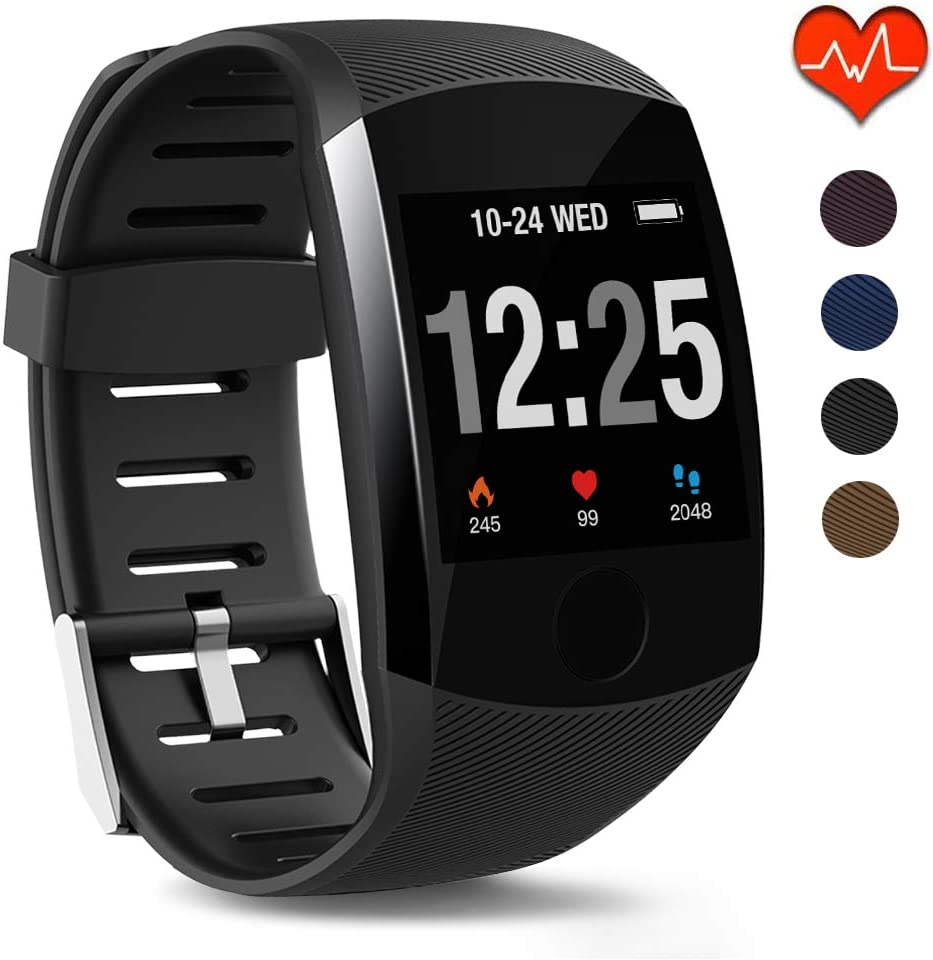 HuaWise Fitness Tracker, IP67 Waterproof Fit Watch with Heart Rate Monitor,Sleep Monitor, Pedometer Watch for Women Men Kids