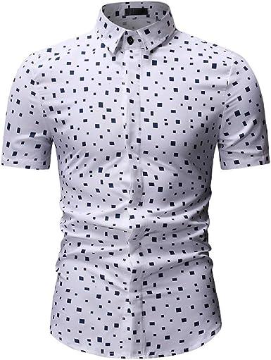 SoonerQuicker Camisa Hombre Tops shirtHombres Casual Verano Impreso botón de Manga Corta Camiseta Hawaiana Top Blusa: Amazon.es: Ropa y accesorios