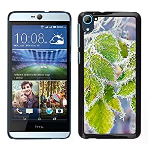 Las hojas nevadas - Metal de aluminio y de plástico duro Caja del teléfono - Negro - HTC Desire D826