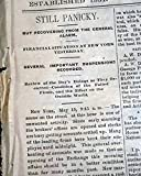 PANIC OF 1884 Wall Street STOCK Market Crash Financial Gold Reserves Newspaper DAILY JOURNAL, Evansville, Indiana, May 16, 1884