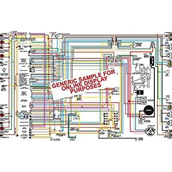 amazon com full color laminated wiring diagram fits 1970 1971 chevy 1987 Corvette Engine Diagram