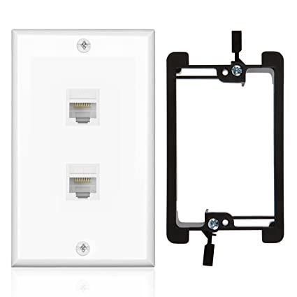 Pleasant Amazon Com Tnp Ethernet Network Cat5E Wall Plate 2 Port Single Wiring Cloud Hisonuggs Outletorg