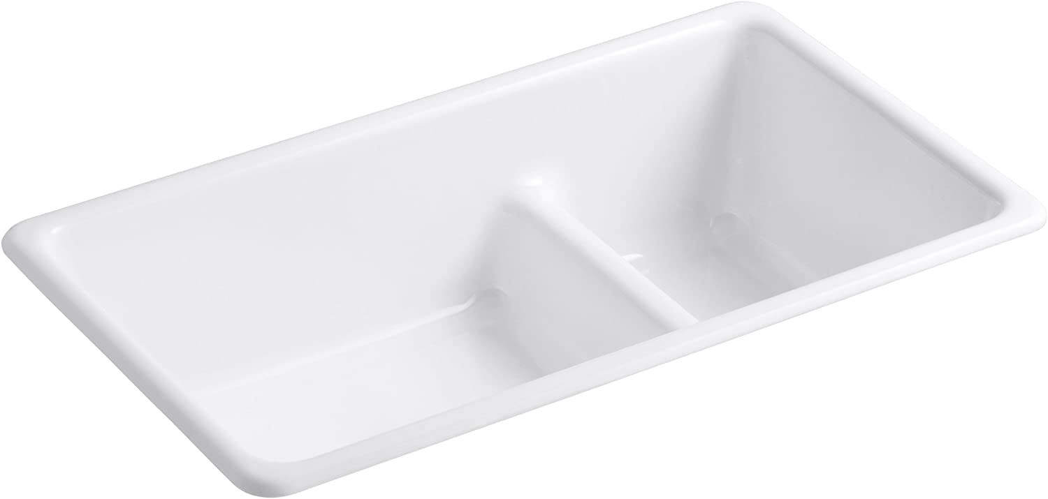 KOHLER K-6625-0 Iron Tones Smart Divide Self-Rimming or Undercounter Kitchen Sink, White