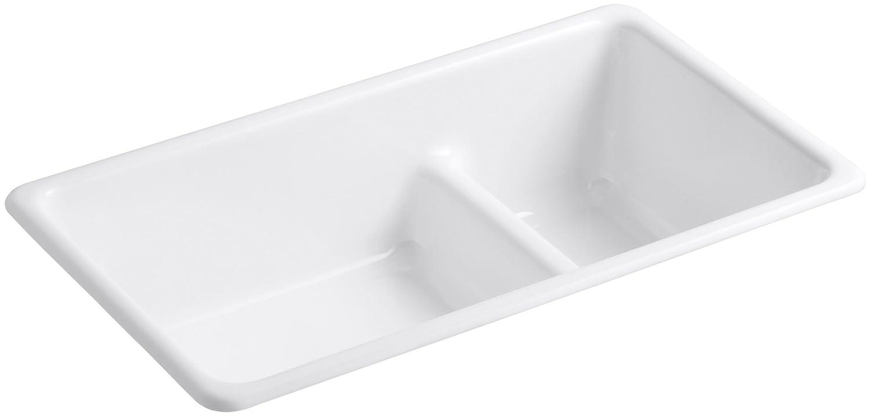 KOHLER K 6625 0 Iron/Tones Smart Divide Self Rimming Or Undercounter  Kitchen Sink, White   White Porcelain Undermount Kitchen Sink   Amazon.com