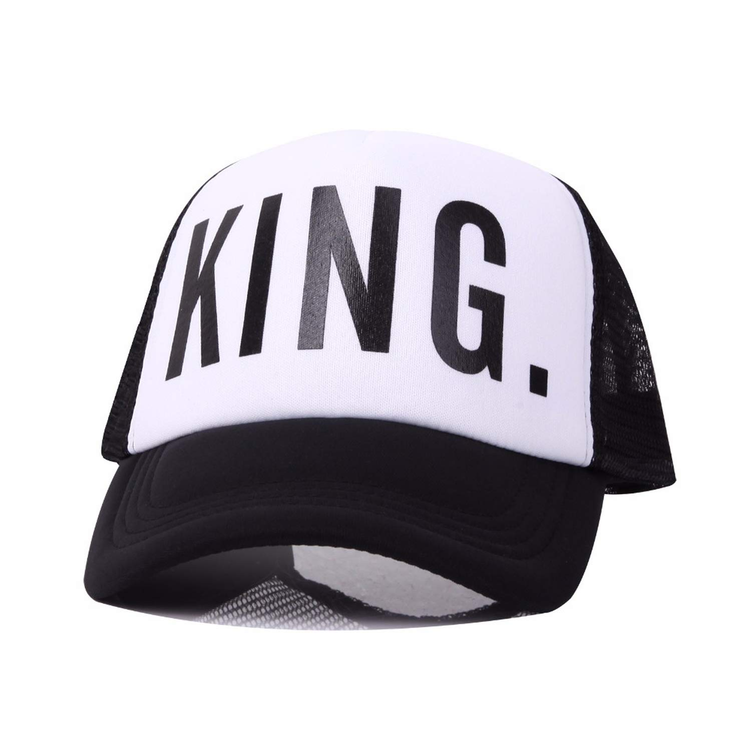New King Queen Print Trucker Caps Men Women Polyester Mesh Summer Flat Visor Hat White Black Couple Gifts at Amazon Womens Clothing store:
