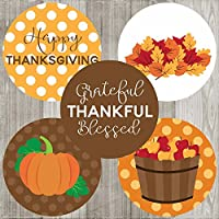 Thanksgiving Sticker Labels - Autumn Fall Holiday Favor and Envelope Seal Labels - Set of 50