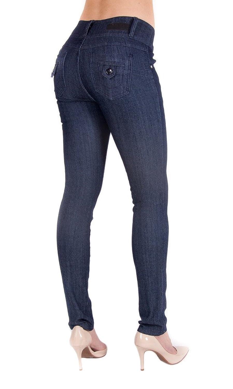 9a8b5f290d9 85%OFF ARCO IRIS Women s Skinny Mid Waist Jeans Butt Lifter Navy Junior