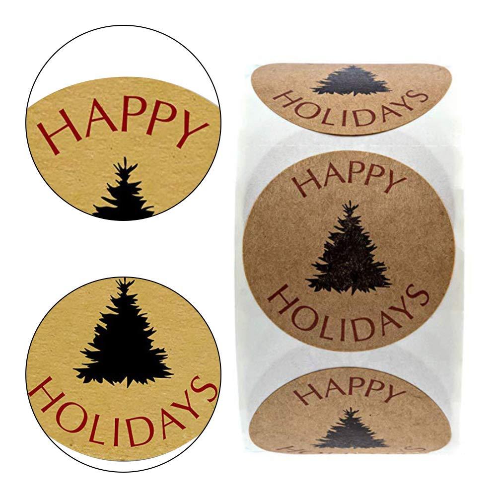 LAANCOO Etiqueta Engomada del Partido de Etiqueta Redonda del Papel de Kraft Bricolaje Vacaciones de la Navidad