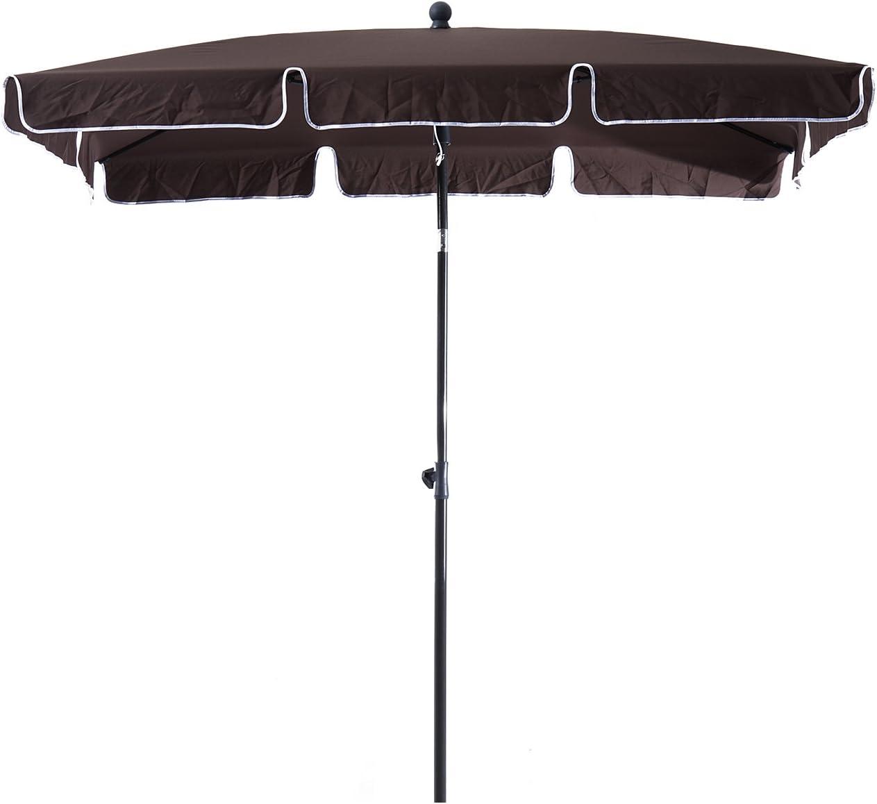 Outsunny Sombrilla Cuadrada Grande Parasol con Ángulo Ajustable para Patio Terraza o Jardín 200x125x235cm En Color Marrón