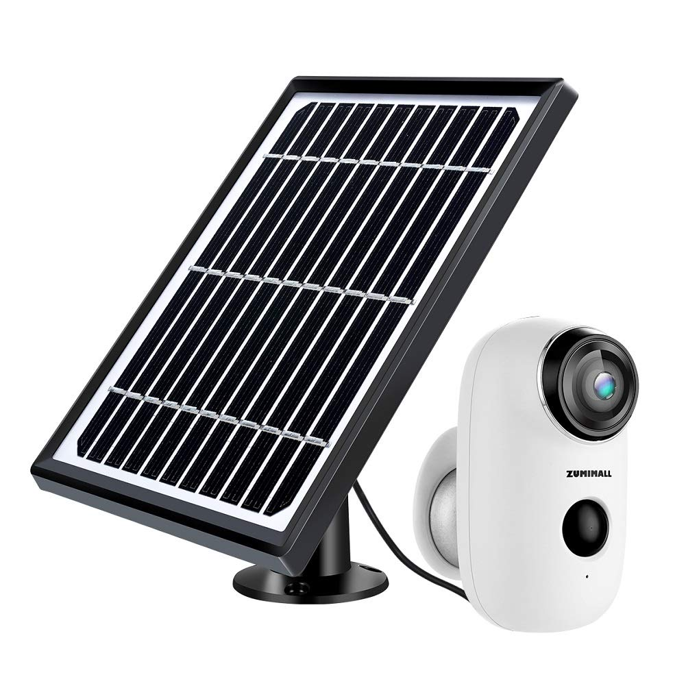 Solar Powered Wireless Indoor/Outdoor Camera, Rechargeable Battery Powered Home Security System, Night Vision, 1080P HD Video with Motion Detection, 2-Way Audio Talk WiFi Camera, IP65 Waterproof by ZUMIMALL