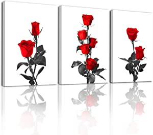 Canvas Wall Art For Bedroom Family Wall Decorations For Living Room Kitchen Wall Decor Paintings Red Roses Flowers Wall Pictures Artwork Fashion Inspirational Wall Art Bathroom Home Decor 3 Pieces