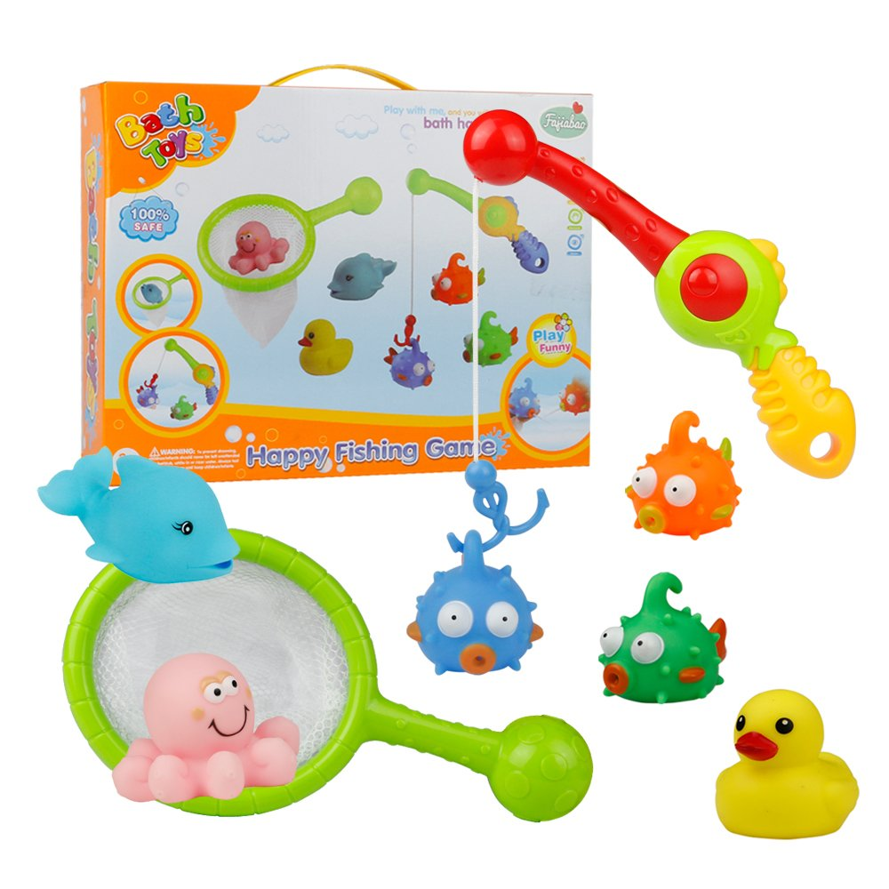 Bath Toy Fishing Game Bathtub Toys with Fish Fishing Pole Net Duck Octopus Dolphin for Kids Toddlers Girls Boys, Color May Vary