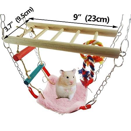 Spielzeug Haustierbedarf Maus Papagei Vogel Spielzeug Schaukel Hamster Holz Hängend Haus Swing Käfig