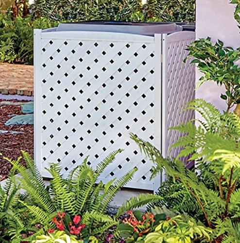 Wood Lattice Air Conditioner Screen (White)
