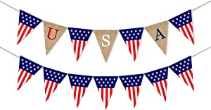 Lauthen.S Burlap Banner 4th of July...