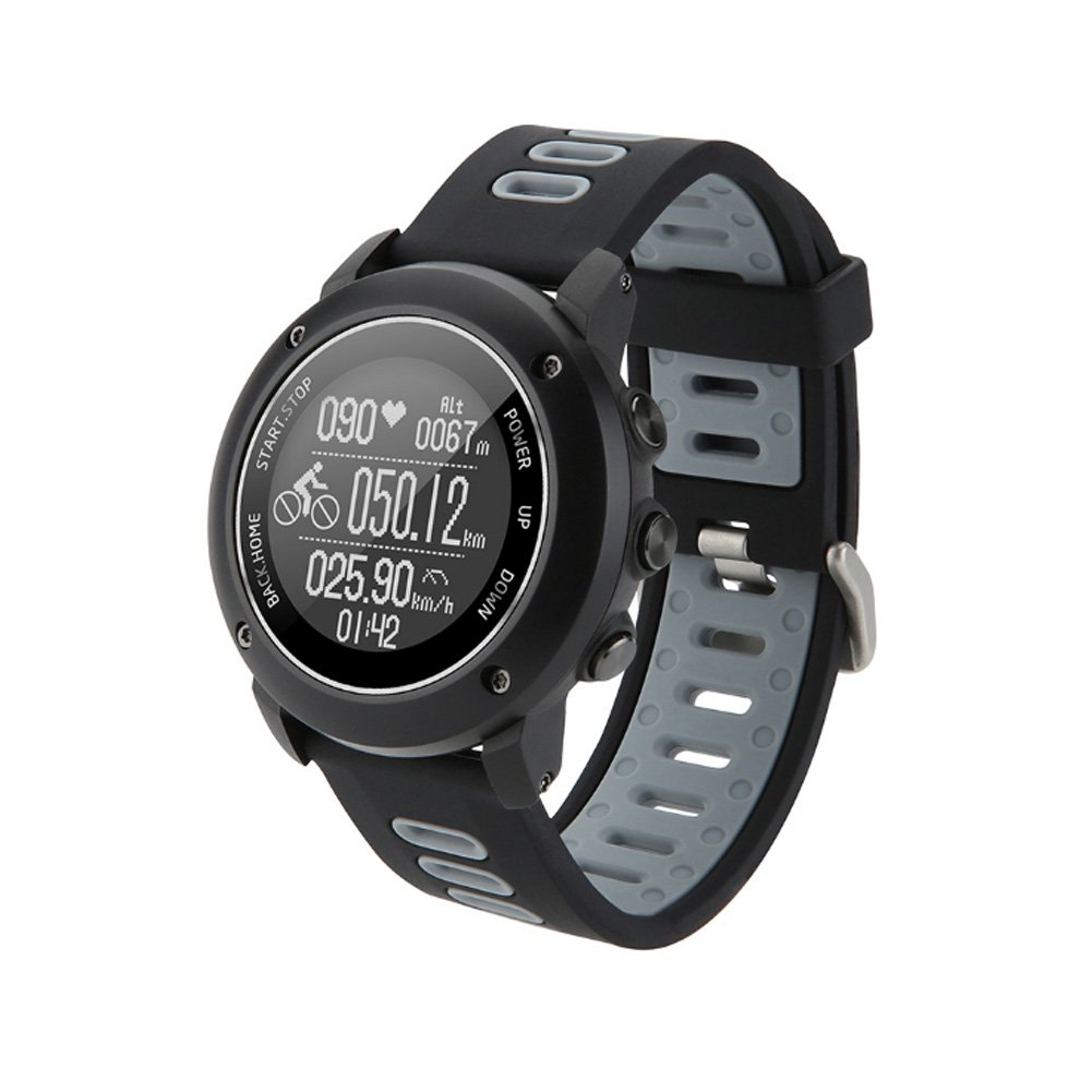GPS Hiking Bluetooth Smart Watch, Adventurer Outdoor Sports IP68 Waterproof Watch,Multi-function Mode,for Tracking Running,Hiking,Heart Rate Monitor,SOS,Compass,USB Charging,Connect with APP (Black)