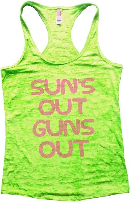 0d1ec7ff0a709f Womens Next Level Burnout Tank top Suns Out Guns Out Gym Shirt Funny  Threadz (Small