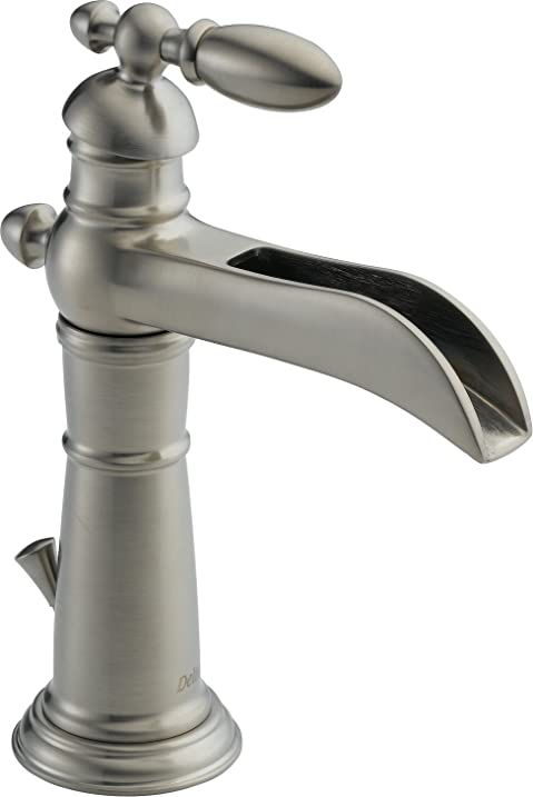Delta Faucet 554LF SS Victorian Single Handle Single Hole Waterfall  Bathroom Faucet, Stainless