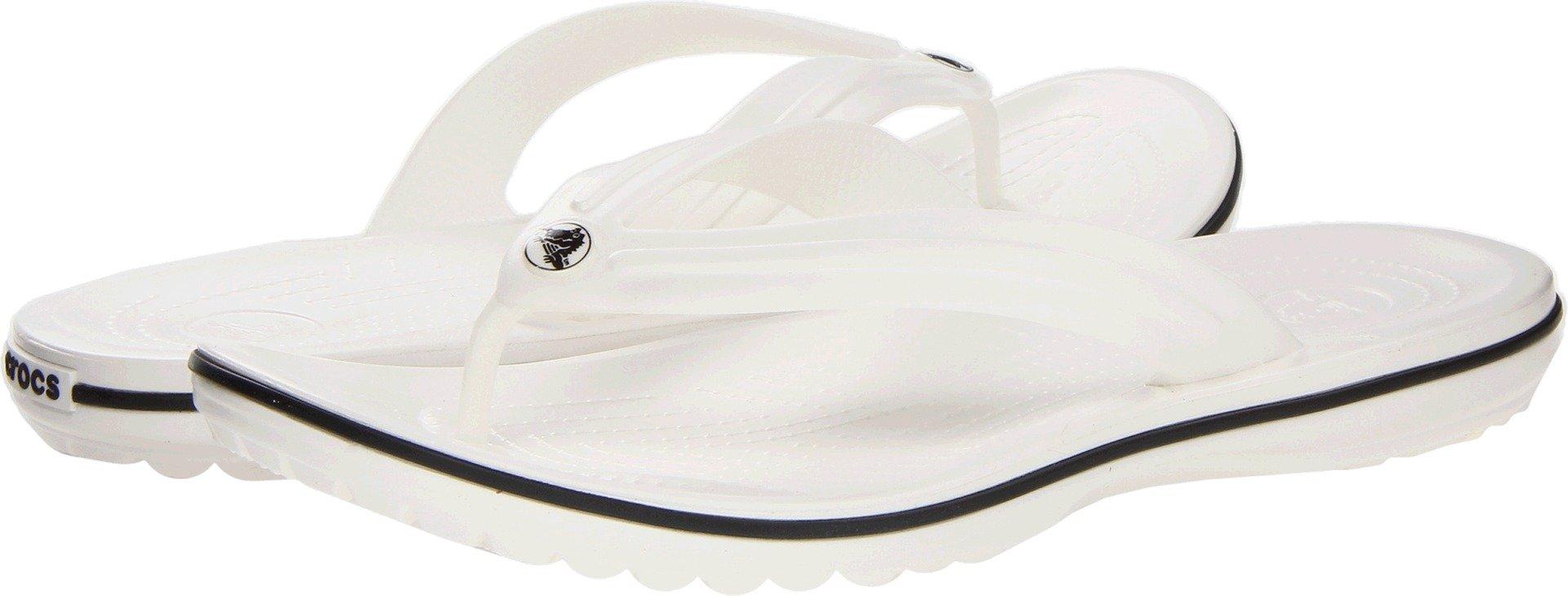 Crocs Unisex Crocband Flip-Flop, White, 7 US Men / 9 US Women