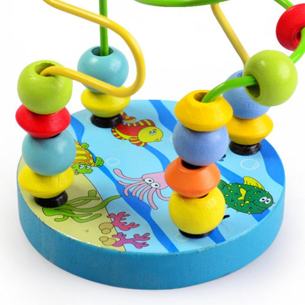 Decdeal Motorikschleife Holzspielzeug Perlen-Labyrinth f/ür Kinder ab 3 Jahren
