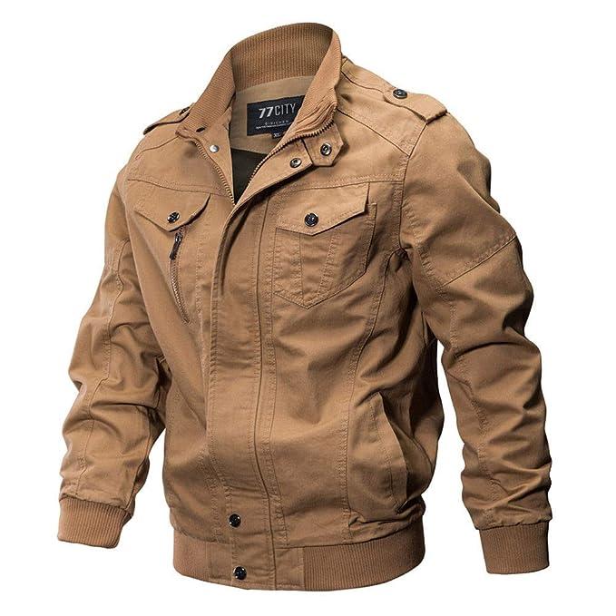 Deylaying Militar Chaqueta para Hombre - Primavera otoño e Invierno Algodón Peso Ligero Bomber Jacket Bolsillos Múltiples Chaquetas Moto: Amazon.es: Ropa y ...
