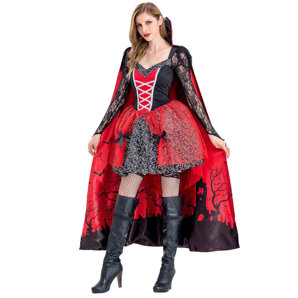 Quelife Womens Gothic Punk Party Dress,Masquerade Steampunk Lolita Spaghetti Strap Dresses Vintage High Low Tops Costumes Red