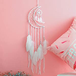Hwceo Moon Dream Catcher for Teens Girl Room,Decoration Teenage Women Bedroom Bed,Princess Room,Wall Decor Hanging Metal Hoops Sun Moon Modern Hand Woven Half Circle Dreamcatcher for Baby Shower,White