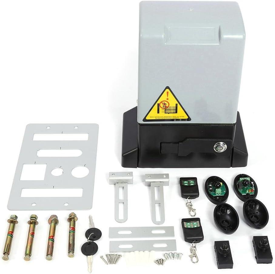 Kit de abridor de Puerta corredera Automático Ajustable de 2000KG y 750w con Sonda de Sensor Infrarrojo Protección de la Temperatura Sistema de Cierre Automatico(750W Motor )
