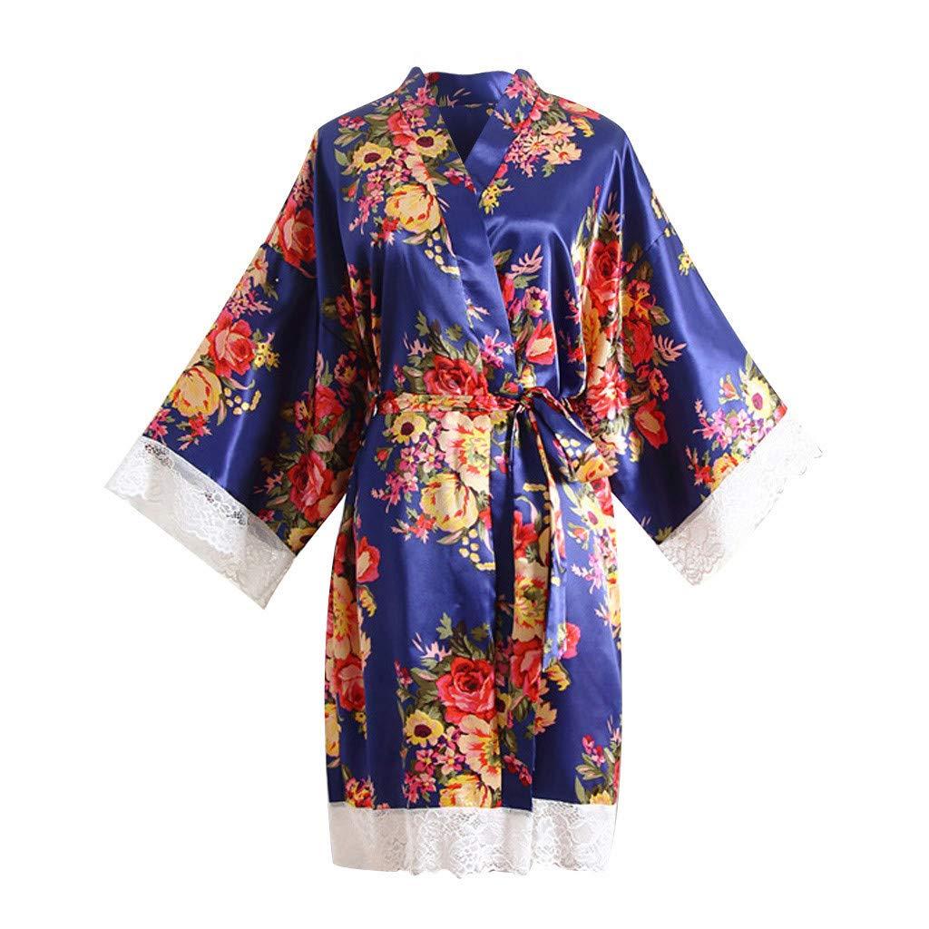 ZhixiaYS Women Sexy Print Sleepwear Robe Lace Trim Kimono Bathrobe Nightdress Dressinggown Blue