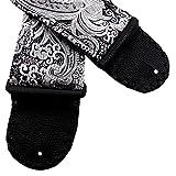 Silver and Black Paisley Guitar Strap India Zari Style Brocade Artisan Handmade