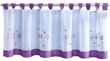 Rideau brise-bise avec passants env. 150 x 45 cm, Polyester, lila ...