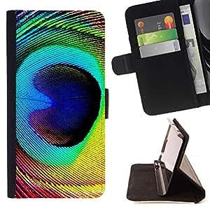 Momo Phone Case / Flip Funda de Cuero Case Cover - Pluma del pavo real colorido ojo pájaro mágico - HTC DESIRE 816