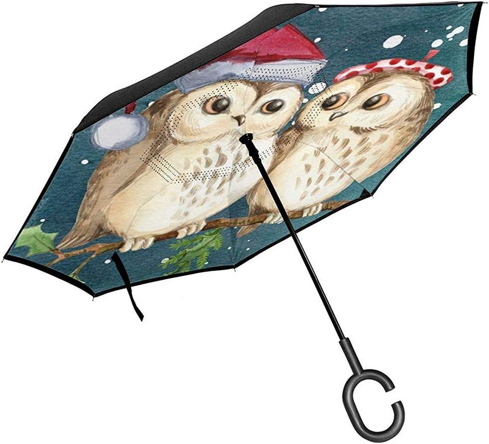 Joyeux No/ël Hibou Rameau Flocons De Neige Reverse Parapluie Double Couche Parapluies Invers/és pour La Voiture Pluie en Plein Air avec Poign/ée en C /à Personnaliser