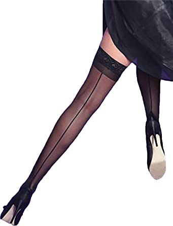 636f959055f Yummy Bee Silky Hold Up Sheer Stockings Silicon Lace Top Back Seam Cuban  Heel Thigh High  Amazon.co.uk  Clothing