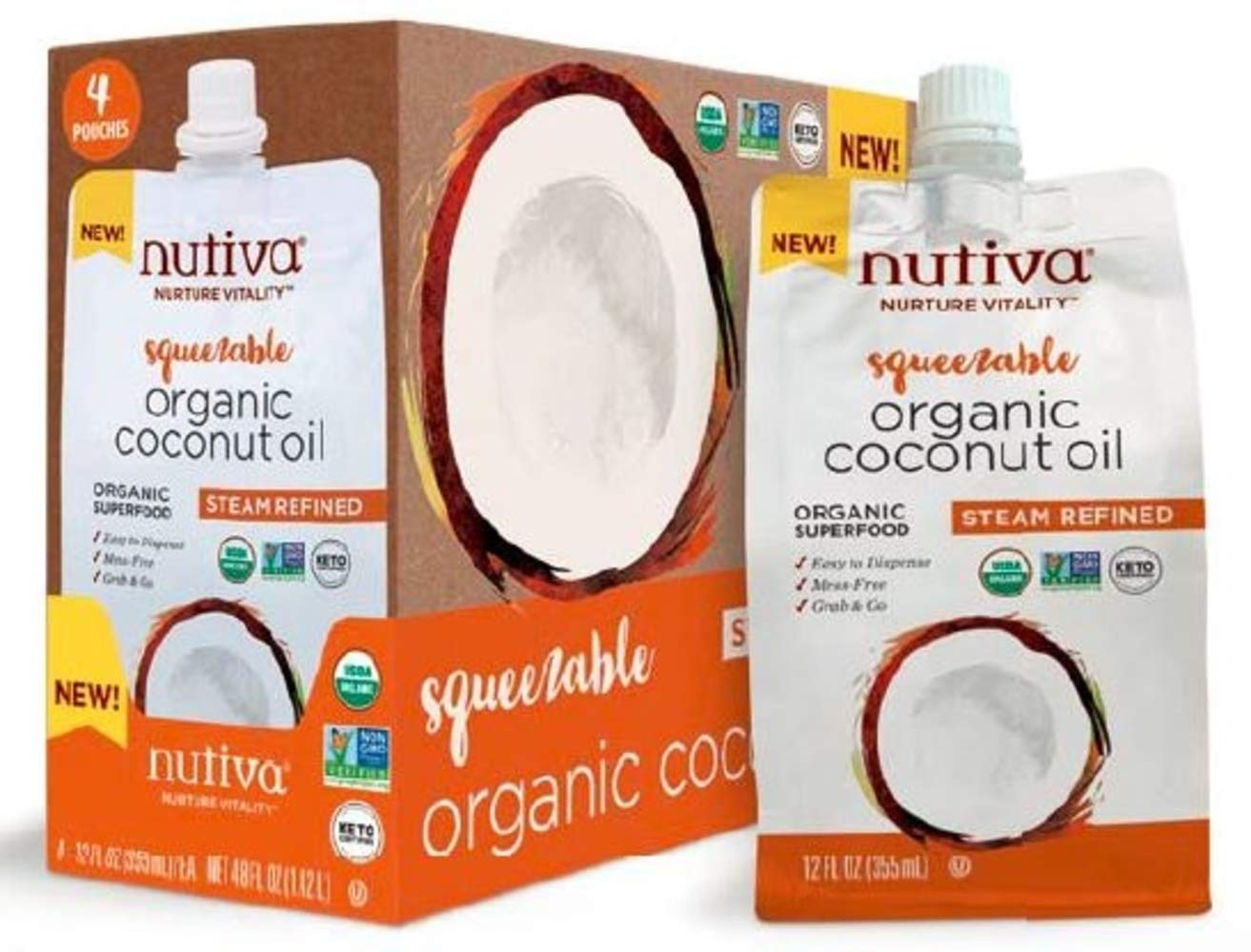 Nutiva Organic, Neutral Tasting, Steam Refined Coconut Oil, Squeezable 12-ounce Pouch (Pack of 4) by Nutiva