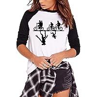 Camiseta Stranger Things Niña, Stranger Things Camisetas de Manga Larga Adolescente Chicas T-Shirt Impresión de Cartas…