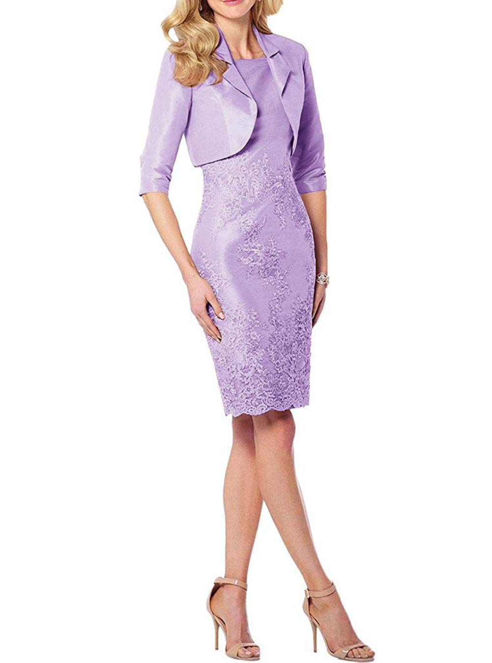 9646fa50c0 UGLY 2019 Knee Length Mother of The Bride Dresses Two Pieces Mother Formal  Dress with Bright Satin Jacket UG114 Lilac Size 12