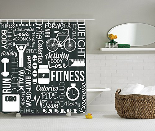 [Fitness Love Healthy Life Aerobic Exercise Art Prints Black and White Fabric Shower Curtain] (Aerobics Costume Designs)