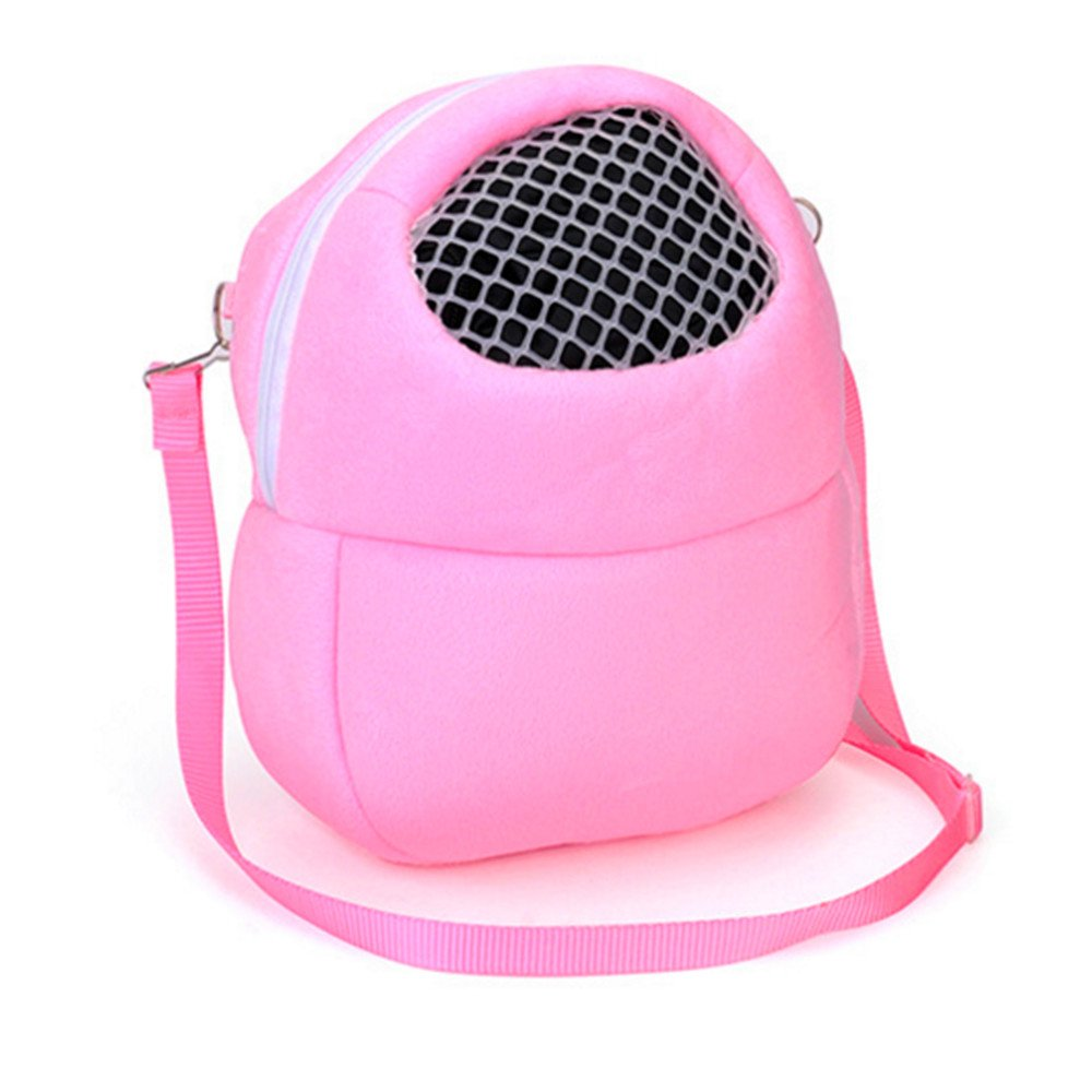 Meiyaa Portable Pet Hamster Carrier Bag with Breathable Mesh Pouch Pet Travel Bag for Small Animals (Blue)