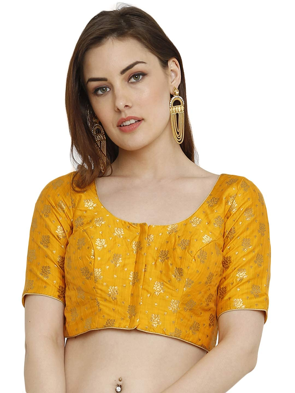1d1c198b0e0c6e salwar studio women s mustard dupion silk readymade padded saree blouse(ssb2039 mustard size    32-42