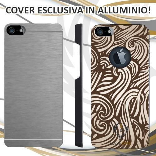 CUSTODIA COVER CASE ABSTRACT BROWN LINEES PER IPHONE 5 5S IN ALLUMINIO