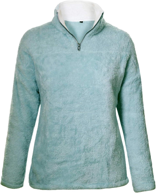 Aleumdr Ladies Oversized Solid Zip Up Cozy Fuzzy Fleece Pullover Sweatshirt Coat Outwear Green