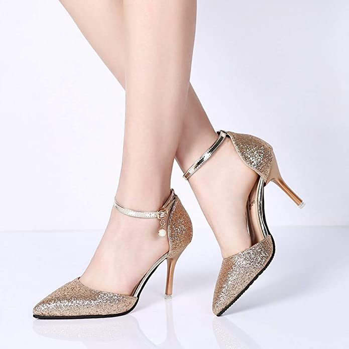 Amazon.com | OrchidAmor New Womens Wild High-Heeled Stiletto Sexy Sequins Belt Buckled Pointed Single Shoes | Shoes